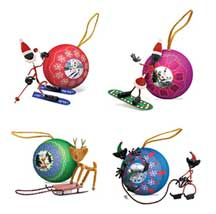 One Set (4) of 2005 Limited Edition Collector's Magnetic Bender Christmas Ornaments - Benders