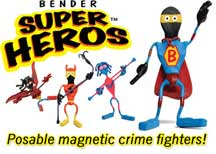One Set of Six (6) Original Magnetic SUPER HERO Benders