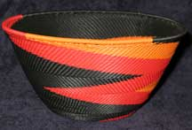 Large Deep Africa Zulu Telephone Wire Basket - Dancing Flames