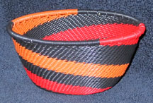 Small African Zulu Telephone Wire Basket/Bowl - Swirling Flames