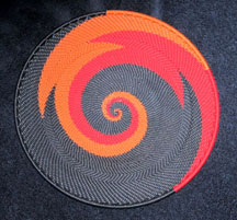 Small African Zulu Telephone Wire Basket Plate - Firebird