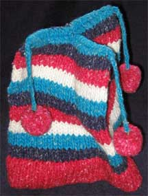 Handmade Pom-Pom Folk Pattern Wool Knit Cap/Hat - Chile