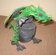 "Thai Handmade Wood Dragon Figure/Sulpture - Green 6""-7"" Tall"