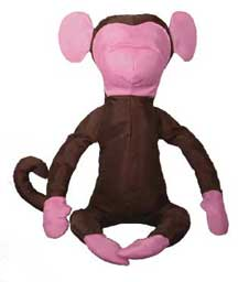 "Brown/Pink Nylon ""Slim"" the Monkey Stuffed Animal"