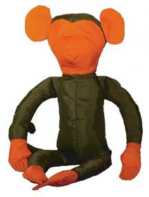"Orange/Olive Nylon ""Slim"" the Monkey Stuffed Animal"