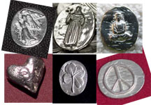 50 Pewter Pocket Tokens - Mix and Match - Angel, Heart, Buddha, St. Francis, Clover, etc.