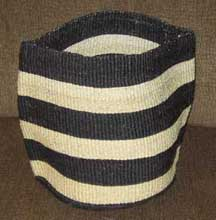 African Sisal Flexible Basket - Black and White