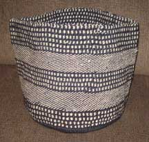 African Sisal Flexible Basket - Black and White Checker