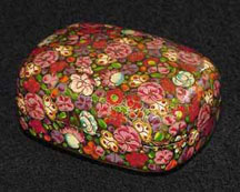 Pink Flowered Papier  Mache Box