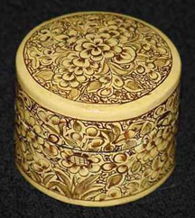 Small Round Brown/Cream Papier Mache Box
